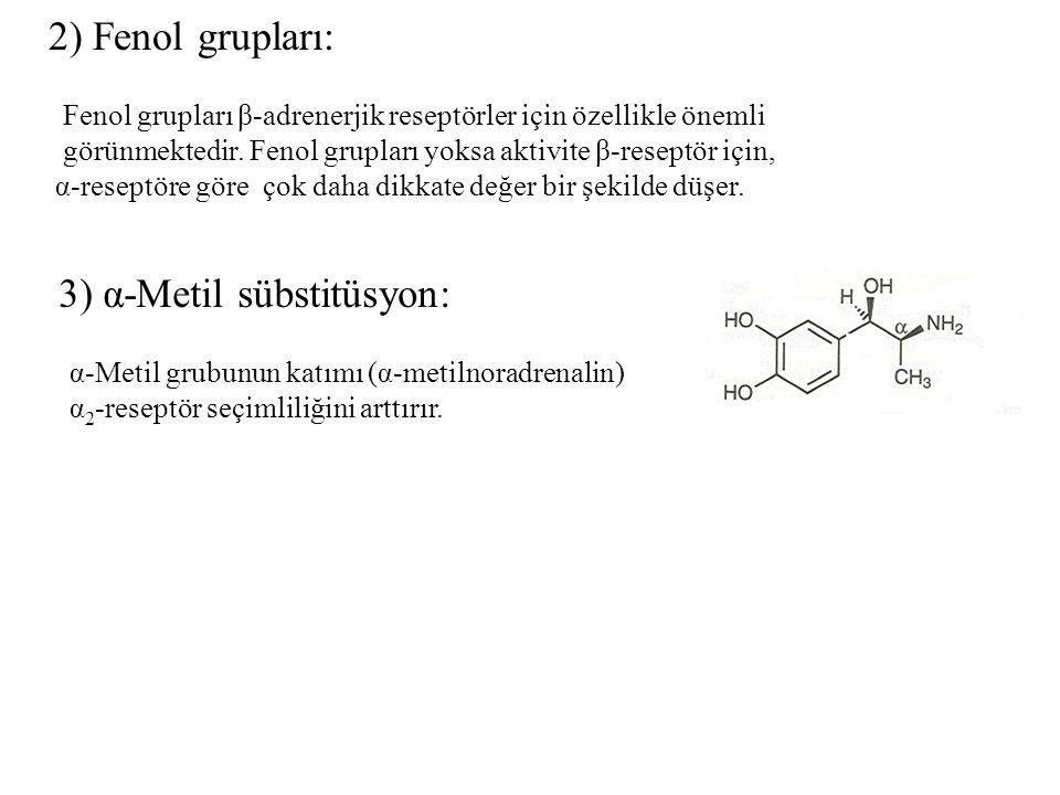 2) Fenol grupları: Fenol grupları β-adrenerjik reseptörler için özellikle önemli görünmektedir. Fenol grupları yoksa aktivite β-reseptör için, α-resep