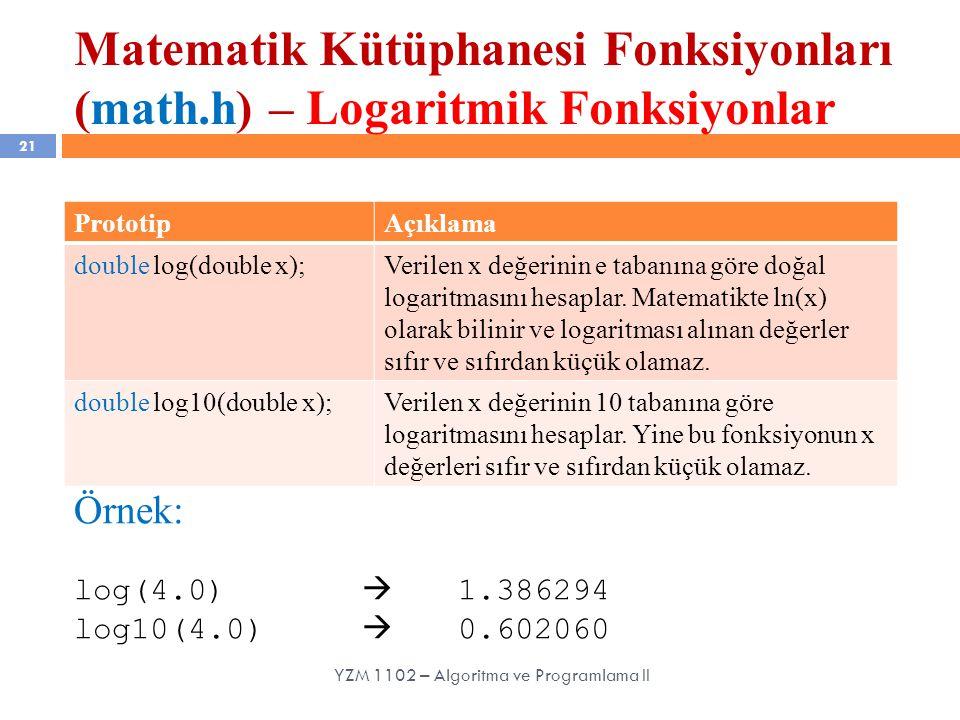 Matematik Kütüphanesi Fonksiyonları (math.h) – Logaritmik Fonksiyonlar 21 YZM 1102 – Algoritma ve Programlama II PrototipAçıklama double log(double x);Verilen x değerinin e tabanına göre doğal logaritmasını hesaplar.