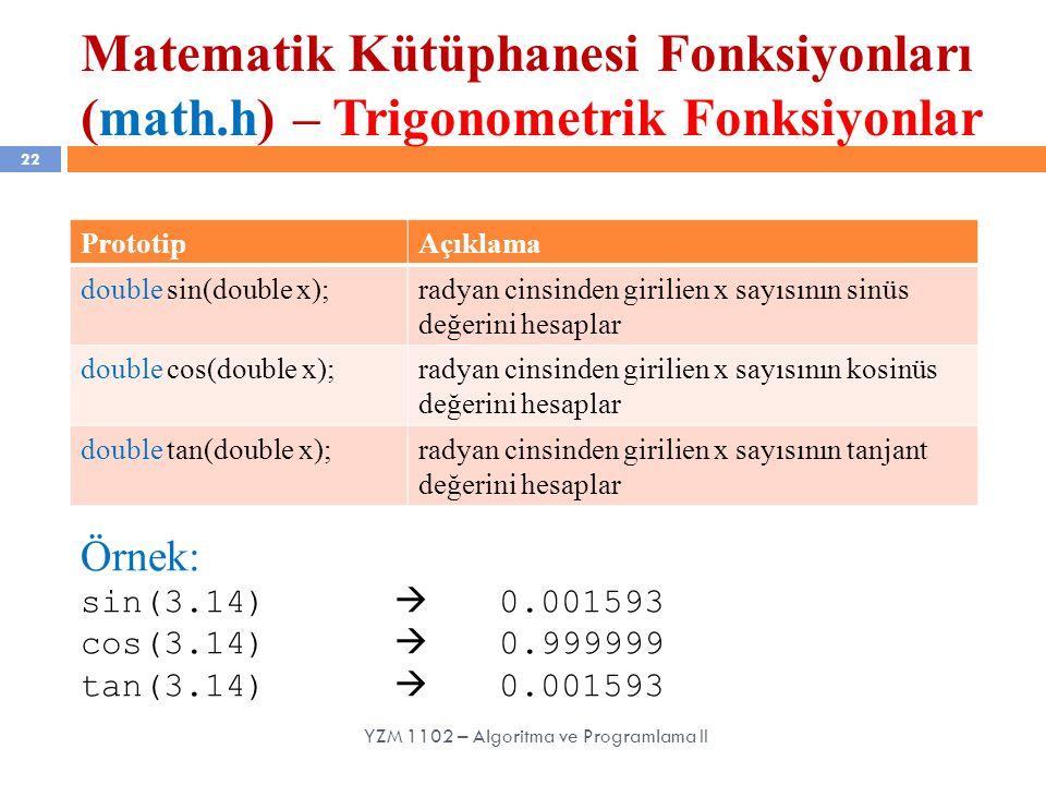 Matematik Kütüphanesi Fonksiyonları (math.h) – Trigonometrik Fonksiyonlar 22 YZM 1102 – Algoritma ve Programlama II PrototipAçıklama double sin(double x);radyan cinsinden girilien x sayısının sinüs değerini hesaplar double cos(double x);radyan cinsinden girilien x sayısının kosinüs değerini hesaplar double tan(double x);radyan cinsinden girilien x sayısının tanjant değerini hesaplar Örnek: sin(3.14)  0.001593 cos(3.14)  0.999999 tan(3.14)  0.001593