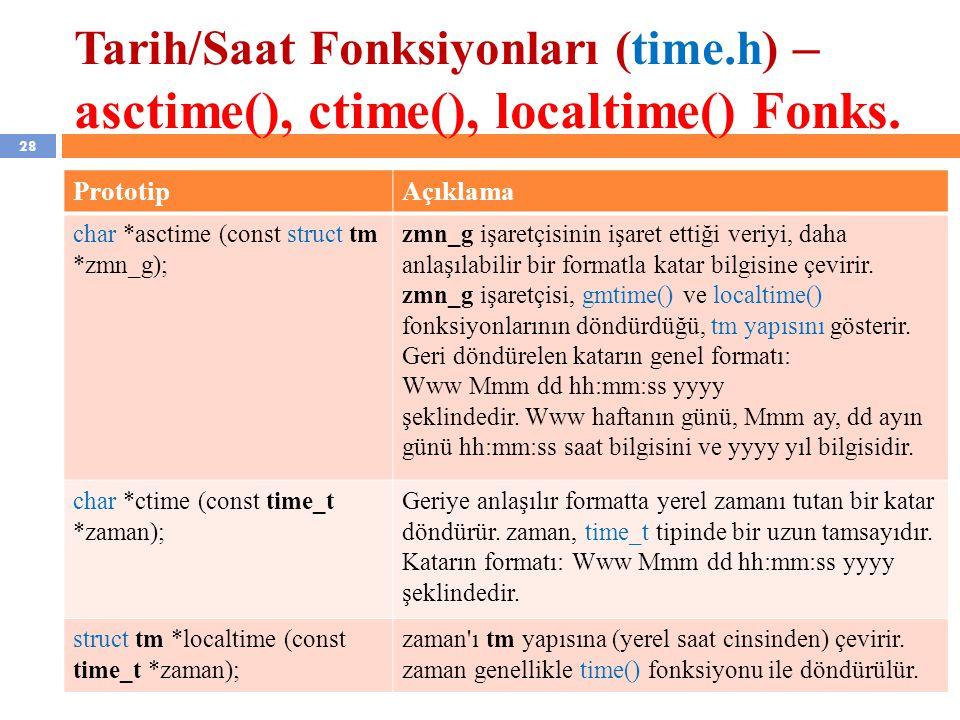 Tarih/Saat Fonksiyonları (time.h) – asctime(), ctime(), localtime() Fonks.