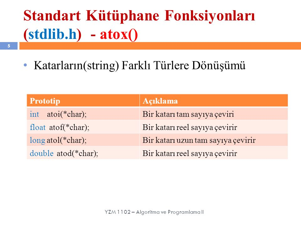 Standart Kütüphane Fonksiyonları (stdlib.h) - atox() 5 Katarların(string) Farklı Türlere Dönüşümü YZM 1102 – Algoritma ve Programlama II PrototipAçıklama int atoi(*char);Bir katarı tam sayıya çeviri float atof(*char);Bir katarı reel sayıya çevirir long atol(*char);Bir katarı uzun tam sayıya çevirir double atod(*char);Bir katarı reel sayıya çevirir