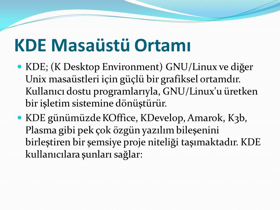 KDE Masaüstü Ortamı KDE; (K Desktop Environment) GNU/Linux ve diğer Unix masaüstleri için güçlü bir grafiksel ortamdır. Kullanıcı dostu programlarıyla