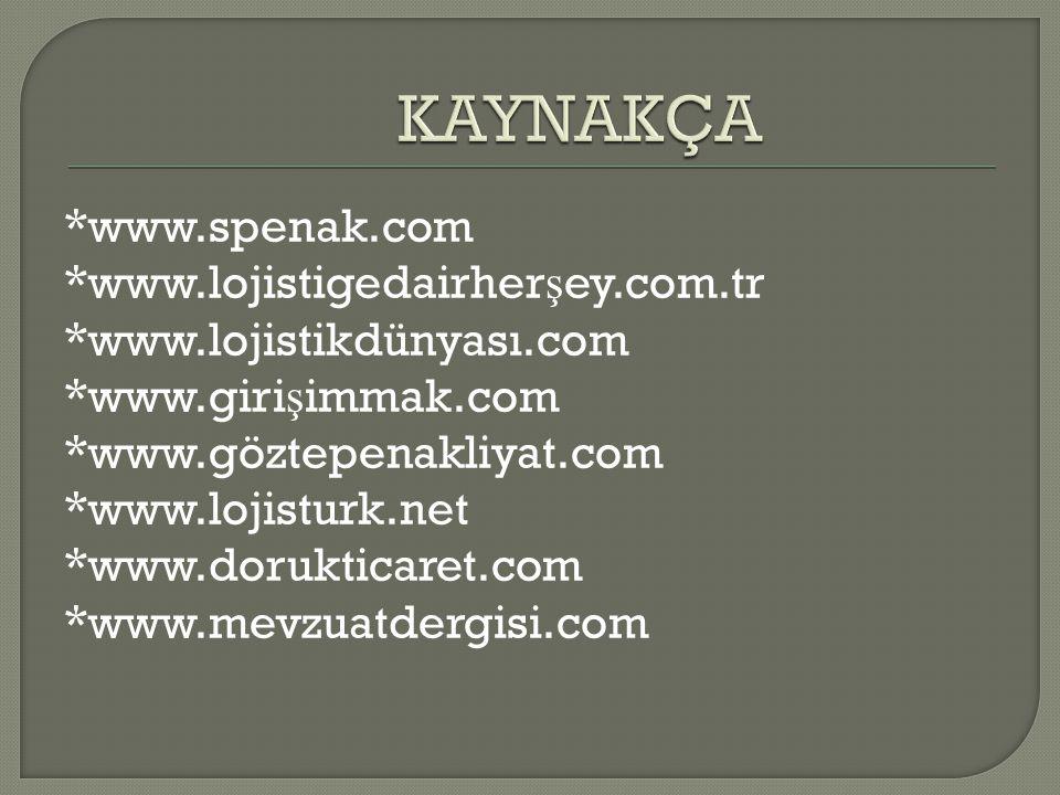 *www.spenak.com *www.lojistigedairher ş ey.com.tr *www.lojistikdünyası.com *www.giri ş immak.com *www.göztepenakliyat.com *www.lojisturk.net *www.dorukticaret.com *www.mevzuatdergisi.com