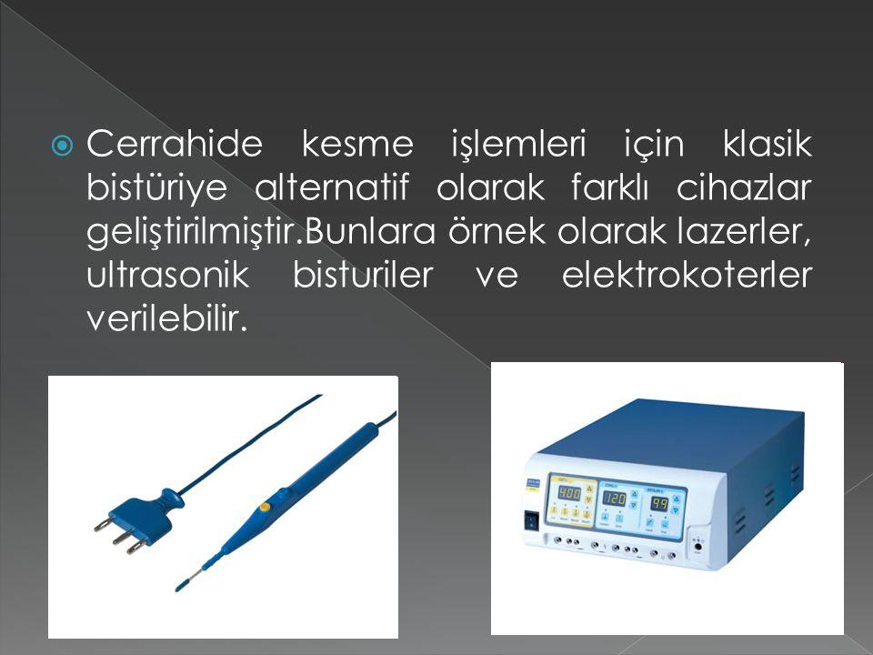  Cerrahide kesme işlemleri için klasik bistüriye alternatif olarak farklı cihazlar geliştirilmiştir.Bunlara örnek olarak lazerler, ultrasonik bisturi