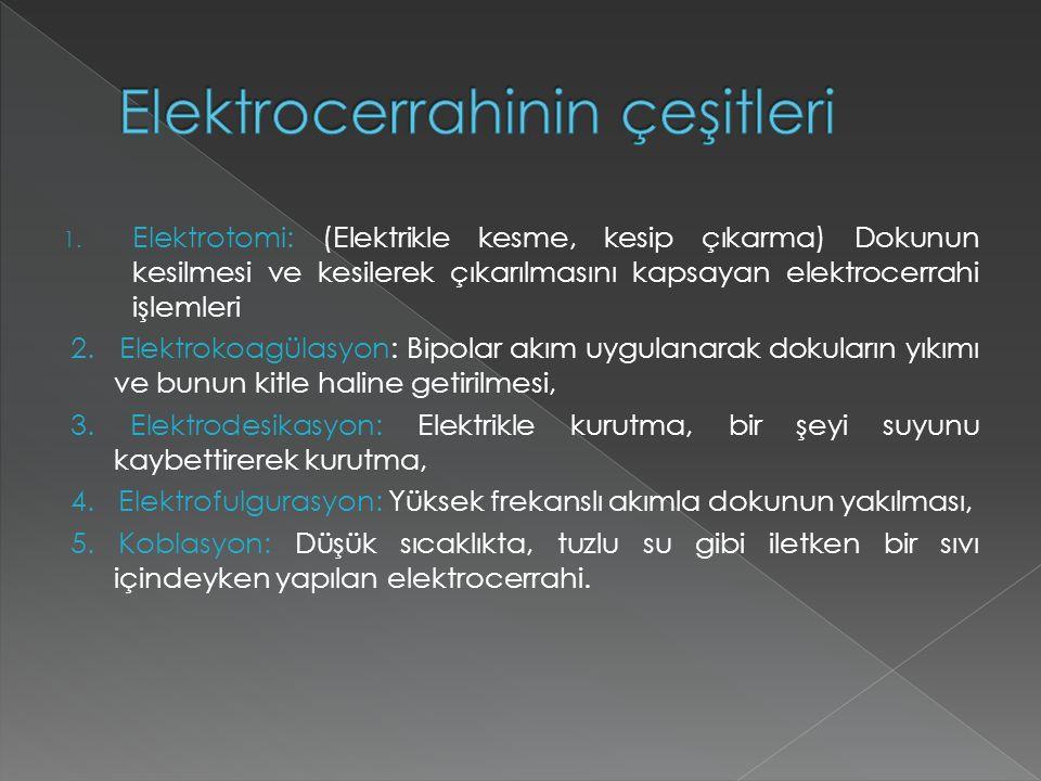 1. Elektrotomi: (Elektrikle kesme, kesip çıkarma) Dokunun kesilmesi ve kesilerek çıkarılmasını kapsayan elektrocerrahi işlemleri 2. Elektrokoagülasyon