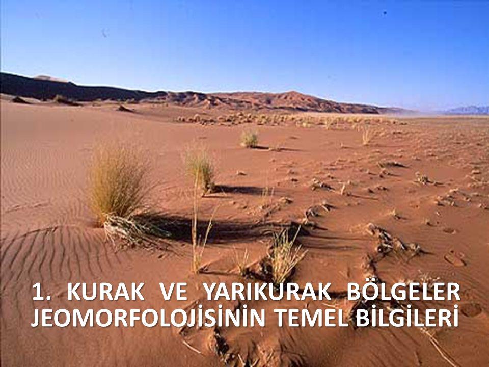 KURAK BÖLGELERİN TANIMI İlk morfolojik bilgiler; 1870 ------ Cezayirli jeolog Pomel Swen Hedin ------ Asya'da Walter ------------- Türkistan ve Libya çölleri Passage ------------ Kalahari çölü Flamand, Gautier ------ Güney Cezayir ve Sahra