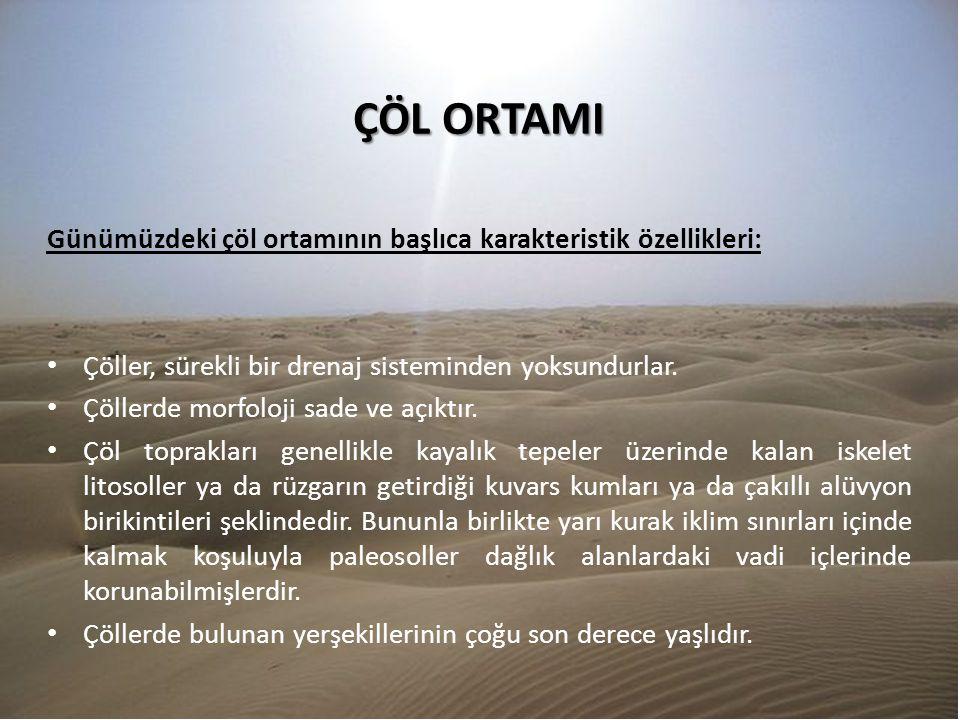 ÇÖL ORTAMI Günümüzdeki çöl ortamının başlıca karakteristik özellikleri: Çöller, sürekli bir drenaj sisteminden yoksundurlar. Çöllerde morfoloji sade v