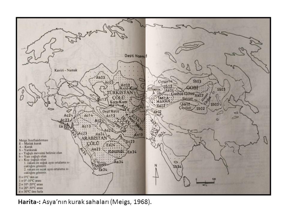 Harita-: Asya'nın kurak sahaları (Meigs, 1968).