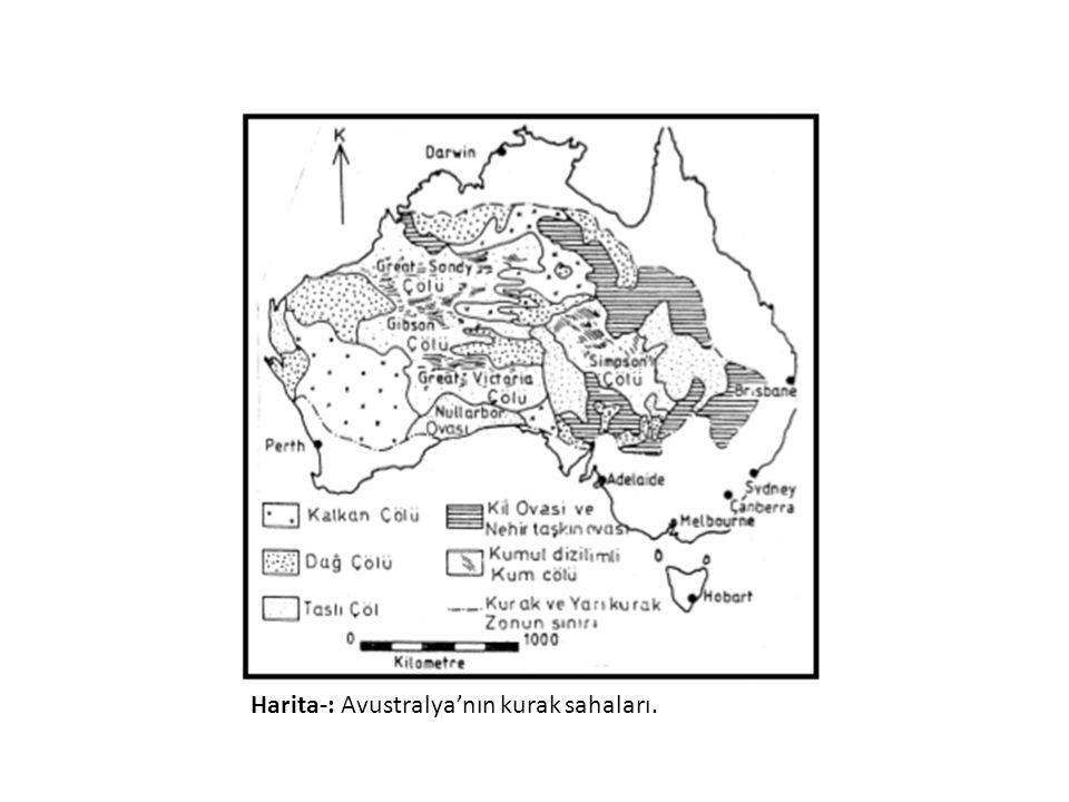 Harita-: Avustralya'nın kurak sahaları.