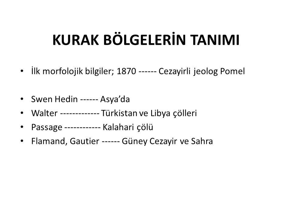 KURAK BÖLGELERİN TANIMI İlk morfolojik bilgiler; 1870 ------ Cezayirli jeolog Pomel Swen Hedin ------ Asya'da Walter ------------- Türkistan ve Libya