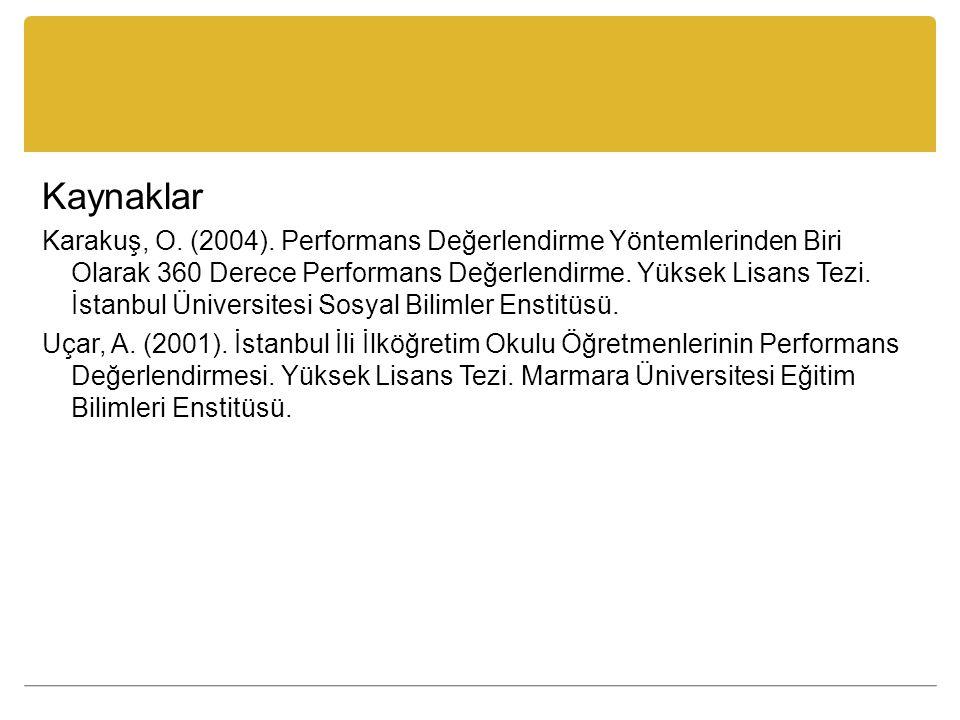 Kaynaklar Karakuş, O. (2004). Performans Değerlendirme Yöntemlerinden Biri Olarak 360 Derece Performans Değerlendirme. Yüksek Lisans Tezi. İstanbul Ün