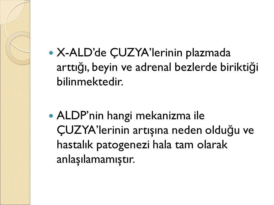 X-ALD'de ÇUZYA'lerinin plazmada arttı ğ ı, beyin ve adrenal bezlerde birikti ğ i bilinmektedir. ALDP'nin hangi mekanizma ile ÇUZYA'lerinin artışına ne