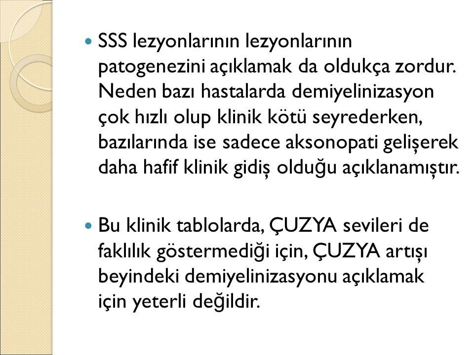 SSS lezyonlarının lezyonlarının patogenezini açıklamak da oldukça zordur. Neden bazı hastalarda demiyelinizasyon çok hızlı olup klinik kötü seyrederke