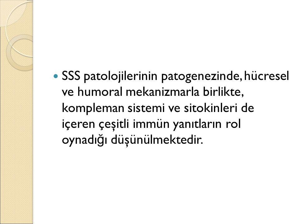 SSS patolojilerinin patogenezinde, hücresel ve humoral mekanizmarla birlikte, kompleman sistemi ve sitokinleri de içeren çeşitli immün yanıtların rol