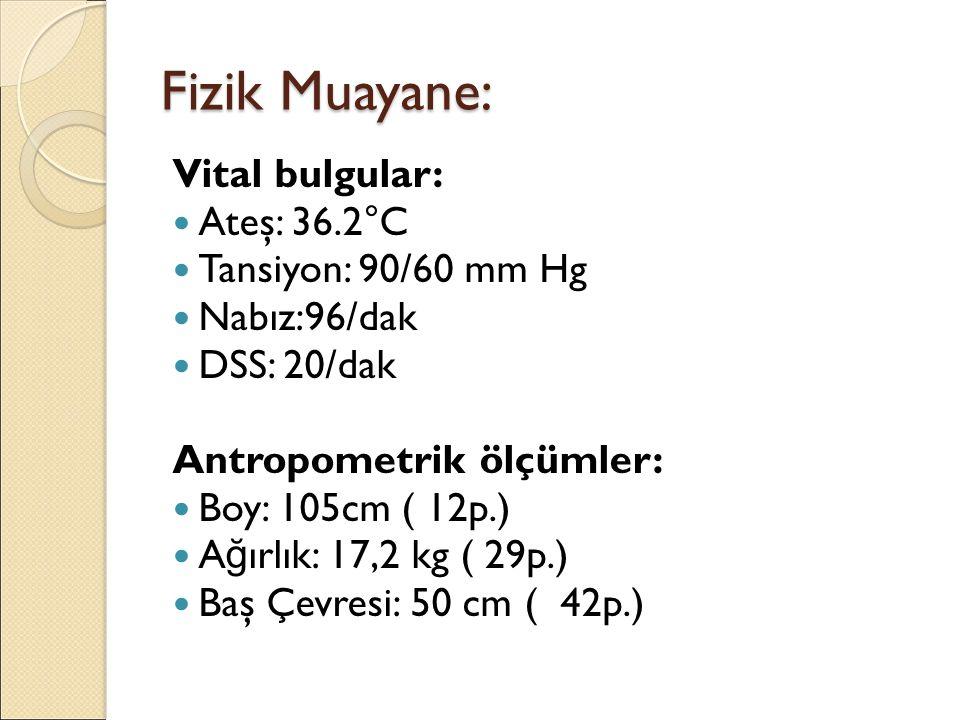 Fizik Muayane: Vital bulgular: Ateş: 36.2°C Tansiyon: 90/60 mm Hg Nabız:96/dak DSS: 20/dak Antropometrik ölçümler: Boy: 105cm ( 12p.) A ğ ırlık: 17,2 kg ( 29p.) Baş Çevresi: 50 cm ( 42p.)
