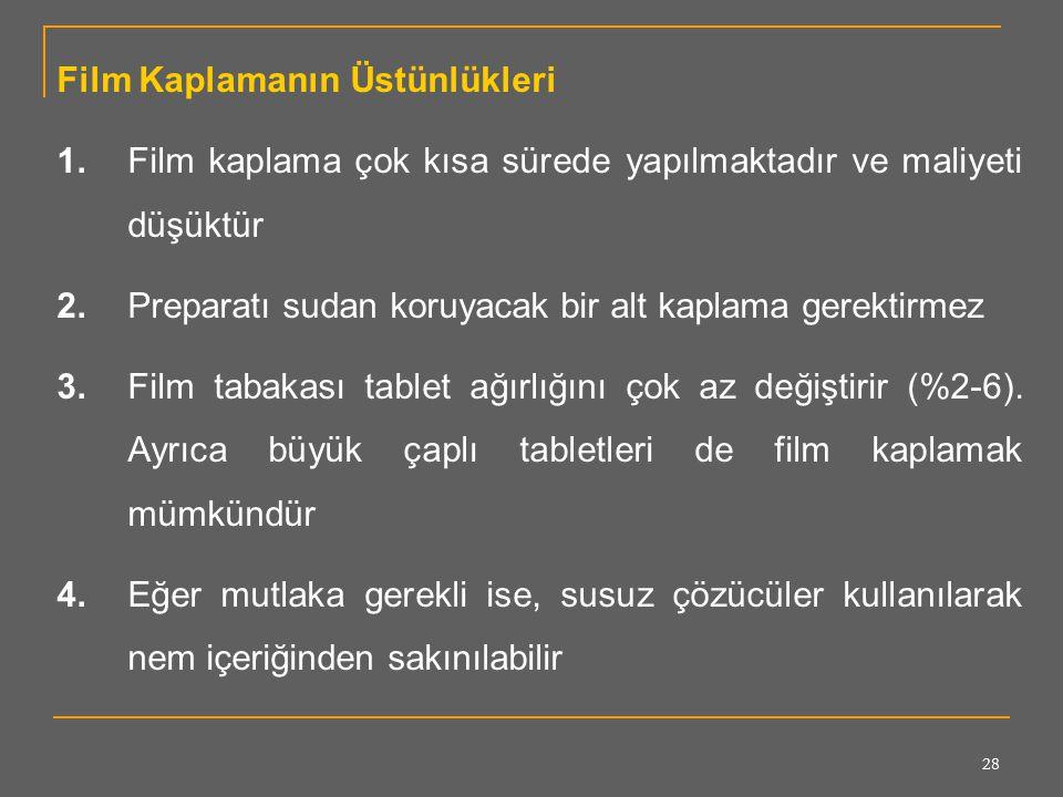 28 Film Kaplamanın Üstünlükleri 1.Film kaplama çok kısa sürede yapılmaktadır ve maliyeti düşüktür 2.Preparatı sudan koruyacak bir alt kaplama gerektir