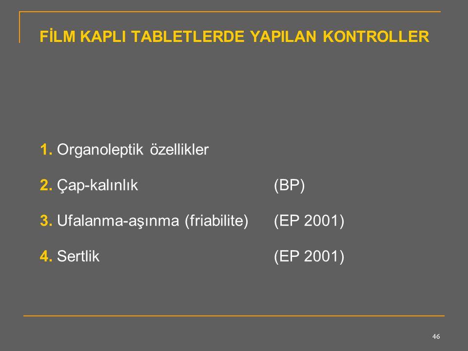 46 FİLM KAPLI TABLETLERDE YAPILAN KONTROLLER 1. Organoleptik özellikler 2. Çap-kalınlık (BP) 3. Ufalanma-aşınma (friabilite) (EP 2001) 4. Sertlik (EP