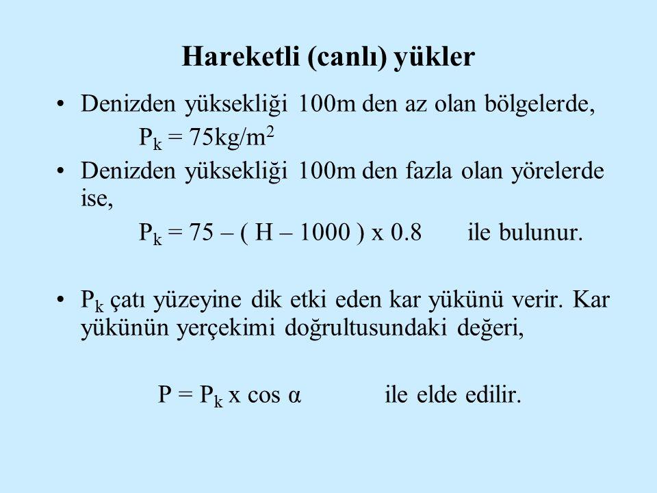 Hareketli (canlı) yükler Denizden yüksekliği 100m den az olan bölgelerde, P k = 75kg/m 2 Denizden yüksekliği 100m den fazla olan yörelerde ise, P k =