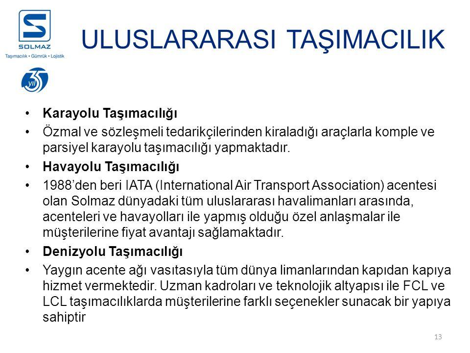 13 ULUSLARARASI TAŞIMACILIK Karayolu Taşımacılığı Özmal ve sözleşmeli tedarikçilerinden kiraladığı araçlarla komple ve parsiyel karayolu taşımacılığı yapmaktadır.