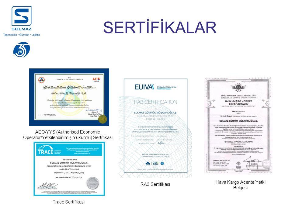 SERTİFİKALAR RA3 Sertifikası Hava Kargo Acente Yetki Belgesi Trace Sertifikası AEO/YYS (Authorised Economic Operator/Yetkilendirilmiş Yükümlü) Sertifikası