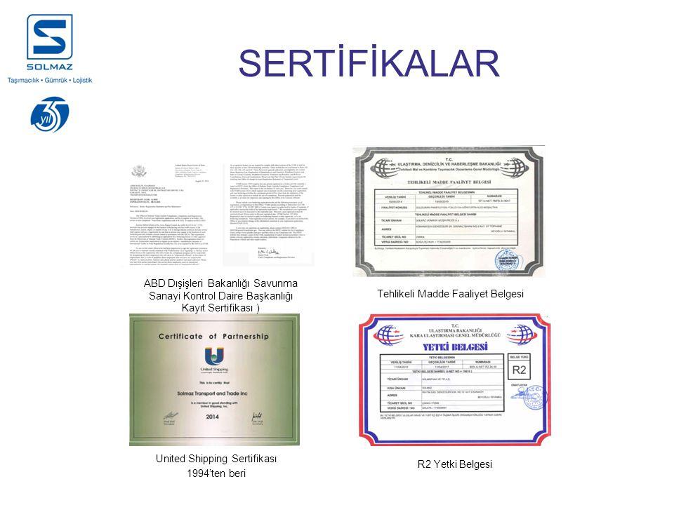 United Shipping Sertifikası 1994'ten beri ABD Dışişleri Bakanlığı Savunma Sanayi Kontrol Daire Başkanlığı Kayıt Sertifikası ) Tehlikeli Madde Faaliyet Belgesi R2 Yetki Belgesi SERTİFİKALAR