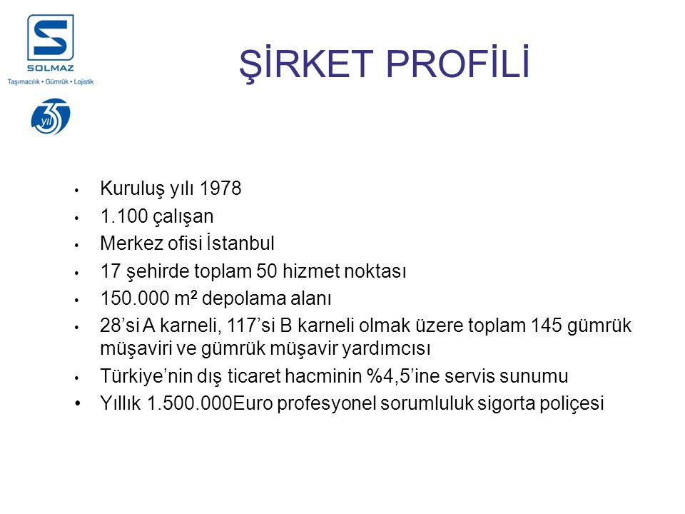 Kuruluş yılı 1978 1.100 çalışan Merkez ofisi İstanbul 17 şehirde toplam 50 hizmet noktası 150.000 m 2 depolama alanı 28'si A karneli, 117'si B karneli olmak üzere toplam 145 gümrük müşaviri ve gümrük müşavir yardımcısı Türkiye'nin dış ticaret hacminin %4,5'ine servis sunumu Yıllık 1.500.000Euro profesyonel sorumluluk sigorta poliçesi ŞİRKET PROFİLİ