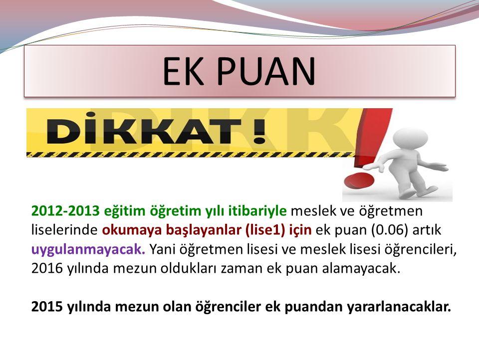 EK PUAN 2012-2013 eğitim öğretim yılı itibariyle meslek ve öğretmen liselerinde okumaya başlayanlar (lise1) için ek puan (0.06) artık uygulanmayacak.