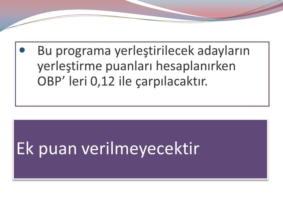 Bu programa yerleştirilecek adayların yerleştirme puanları hesaplanırken OBP' leri 0,12 ile çarpılacaktır.