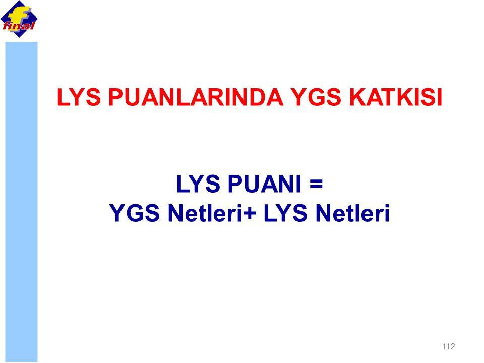 112 LYS PUANLARINDA YGS KATKISI LYS PUANI = YGS Netleri+ LYS Netleri