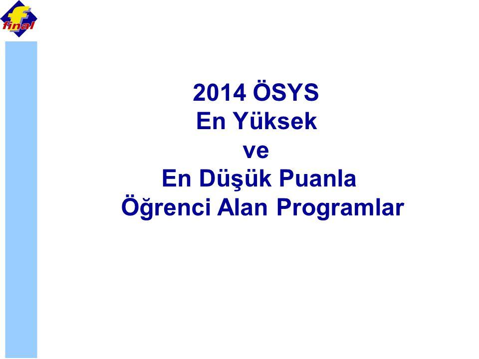 2014 ÖSYS En Yüksek ve En Düşük Puanla Öğrenci Alan Programlar
