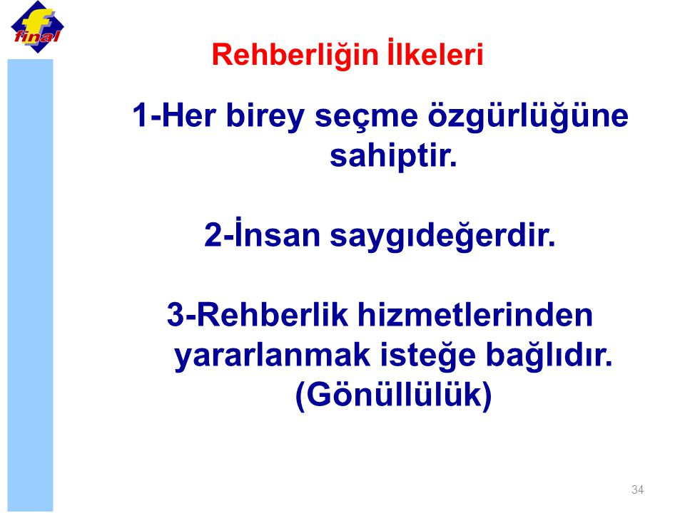 34 Rehberliğin İlkeleri 1-Her birey seçme özgürlüğüne sahiptir. 2-İnsan saygıdeğerdir. 3-Rehberlik hizmetlerinden yararlanmak isteğe bağlıdır. (Gönüll