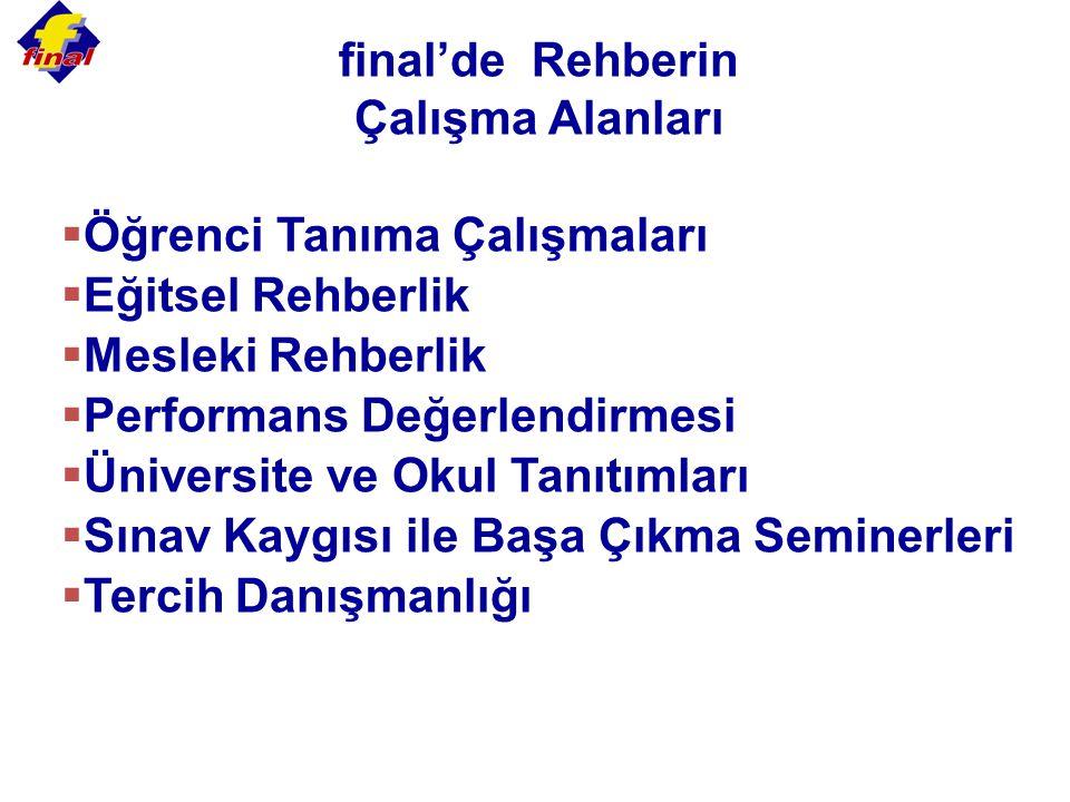 final'de Rehberin Çalışma Alanları  Öğrenci Tanıma Çalışmaları  Eğitsel Rehberlik  Mesleki Rehberlik  Performans Değerlendirmesi  Üniversite ve O
