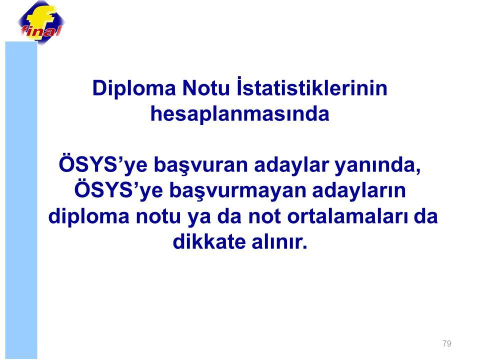 79 Diploma Notu İstatistiklerinin hesaplanmasında ÖSYS'ye başvuran adaylar yanında, ÖSYS'ye başvurmayan adayların diploma notu ya da not ortalamaları da dikkate alınır.