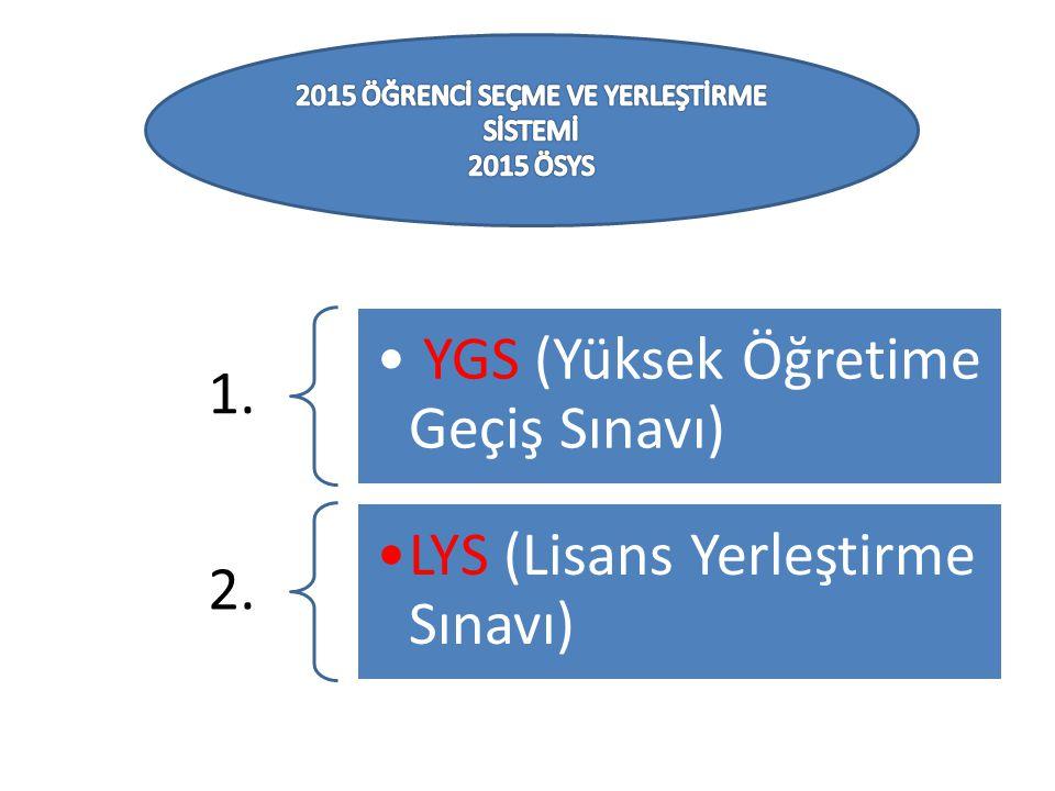 1. YGS (Yüksek Öğretime Geçiş Sınavı) 2. LYS (Lisans Yerleştirme Sınavı)
