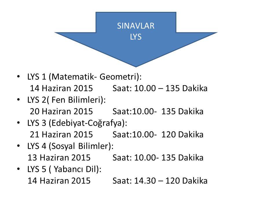 LYS 1 (Matematik- Geometri): 14 Haziran 2015 Saat: 10.00 – 135 Dakika LYS 2( Fen Bilimleri): 20 Haziran 2015 Saat:10.00- 135 Dakika LYS 3 (Edebiyat-Co