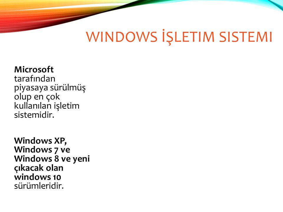 WINDOWS İŞLETIM SISTEMI Microsoft tarafından piyasaya sürülmüş olup en çok kullanılan işletim sistemidir. Windows XP, Windows 7 ve Windows 8 ve yeni ç
