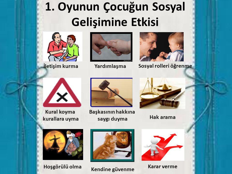 1. Oyunun Çocuğun Sosyal Gelişimine Etkisi İletişim kurmaYardımlaşma Sosyal rolleri öğrenme Kural koyma kurallara uyma Başkasının hakkına saygı duyma
