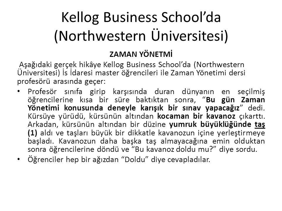 Kellog Business School'da (Northwestern Üniversitesi) ZAMAN YÖNETMİ Aşağıdaki gerçek hikâye Kellog Business School'da (Northwestern Üniversitesi) İs İ