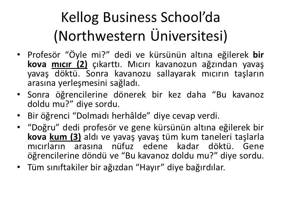 """Kellog Business School'da (Northwestern Üniversitesi) Profesör """"Öyle mi?"""" dedi ve kürsünün altına eğilerek bir kova mıcır (2) çıkarttı. Mıcırı kavanoz"""