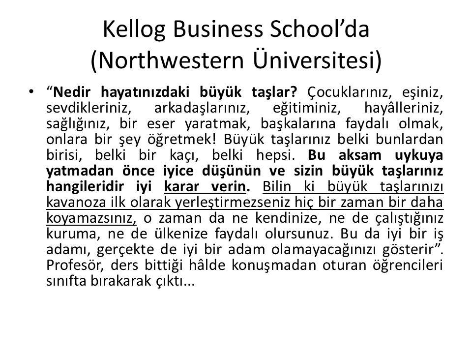 """Kellog Business School'da (Northwestern Üniversitesi) """"Nedir hayatınızdaki büyük taşlar? Çocuklarınız, eşiniz, sevdikleriniz, arkadaşlarınız, eğitimin"""