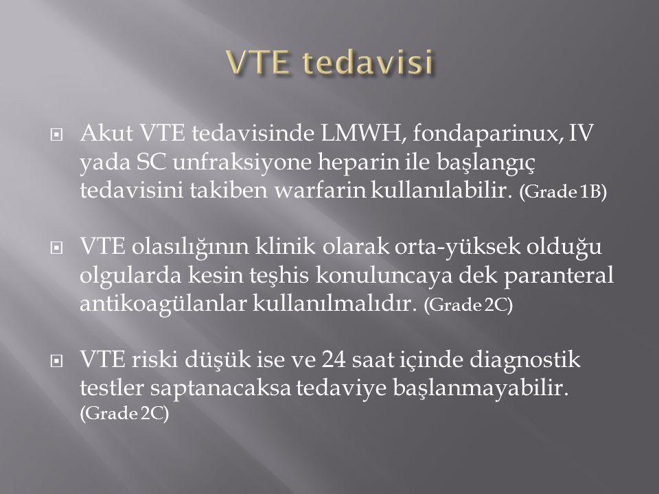  Akut VTE tedavisinde LMWH, fondaparinux, IV yada SC unfraksiyone heparin ile başlangıç tedavisini takiben warfarin kullanılabilir. (Grade 1B)  VTE
