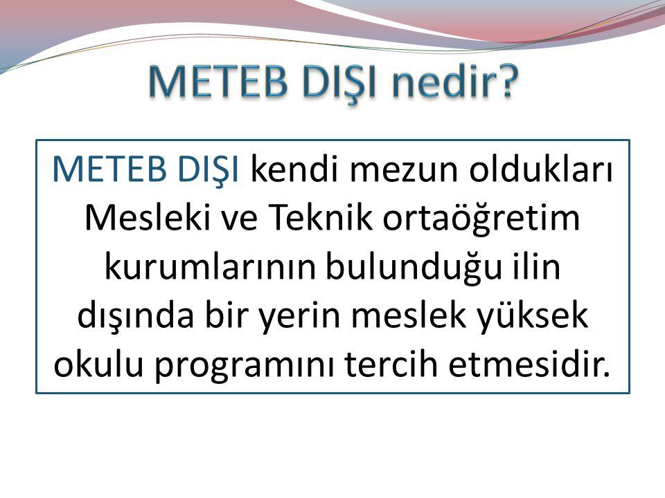 METEB DIŞI kendi mezun oldukları Mesleki ve Teknik ortaöğretim kurumlarının bulunduğu ilin dışında bir yerin meslek yüksek okulu programını tercih etmesidir.
