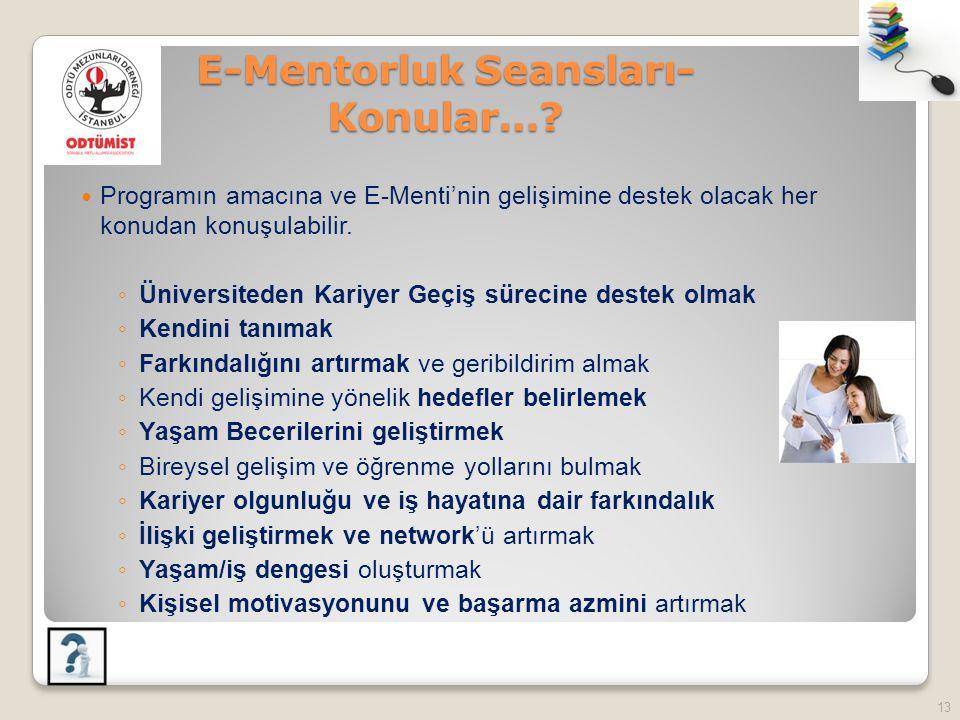 E-Mentorluk Seansları- Konular….