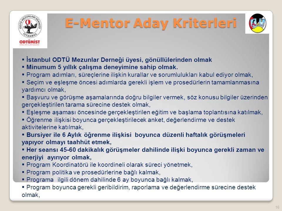 E-Mentor Aday Kriterleri 16  İstanbul ODTÜ Mezunlar Derneği üyesi, gönüllülerinden olmak  Minumum 5 yıllık çalışma deneyimine sahip olmak.
