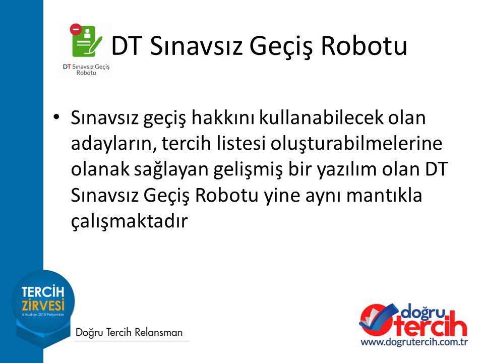 Sınavsız geçiş hakkını kullanabilecek olan adayların, tercih listesi oluşturabilmelerine olanak sağlayan gelişmiş bir yazılım olan DT Sınavsız Geçiş Robotu yine aynı mantıkla çalışmaktadır DT Sınavsız Geçiş Robotu