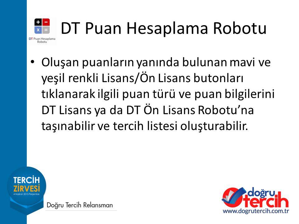 Oluşan puanların yanında bulunan mavi ve yeşil renkli Lisans/Ön Lisans butonları tıklanarak ilgili puan türü ve puan bilgilerini DT Lisans ya da DT Ön Lisans Robotu'na taşınabilir ve tercih listesi oluşturabilir.