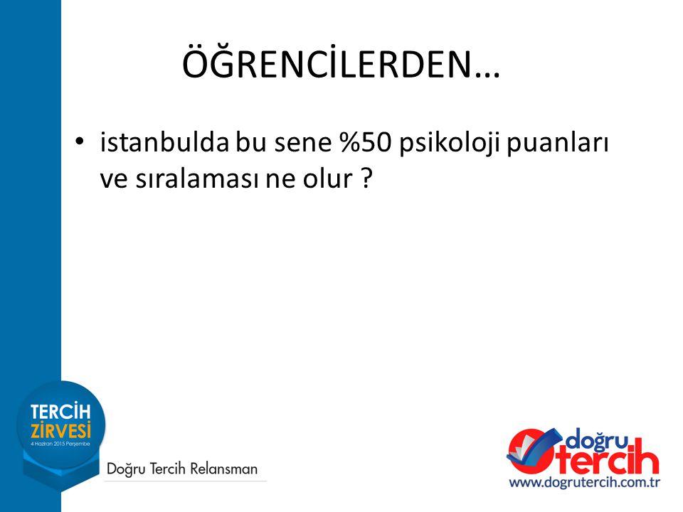 ÖĞRENCİLERDEN… istanbulda bu sene %50 psikoloji puanları ve sıralaması ne olur ?