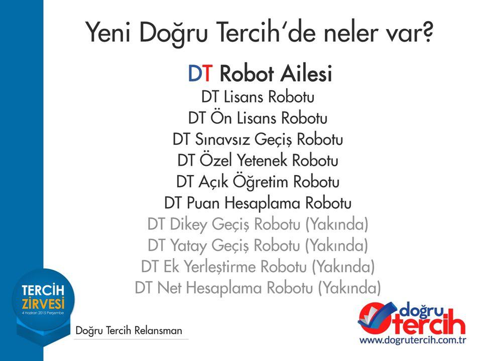 DT Lisans Robotu Üniversitelerin 4,5,6 yıllık fakülte ve yüksekokullarında yer alan bölümlerin datasını içerir.