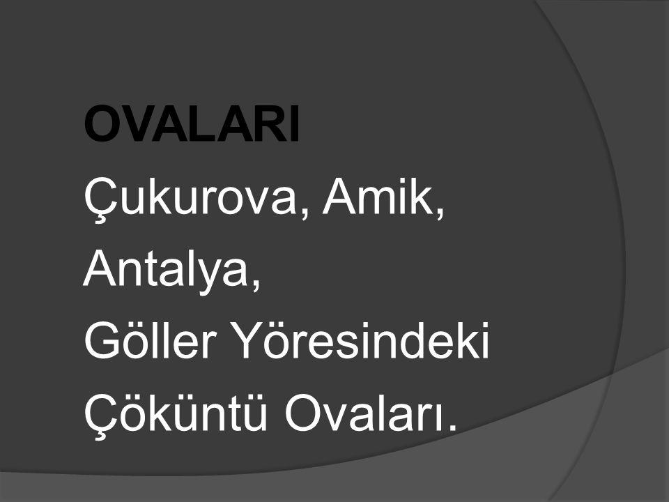 OVALARI Çukurova, Amik, Antalya, Göller Yöresindeki Çöküntü Ovaları.