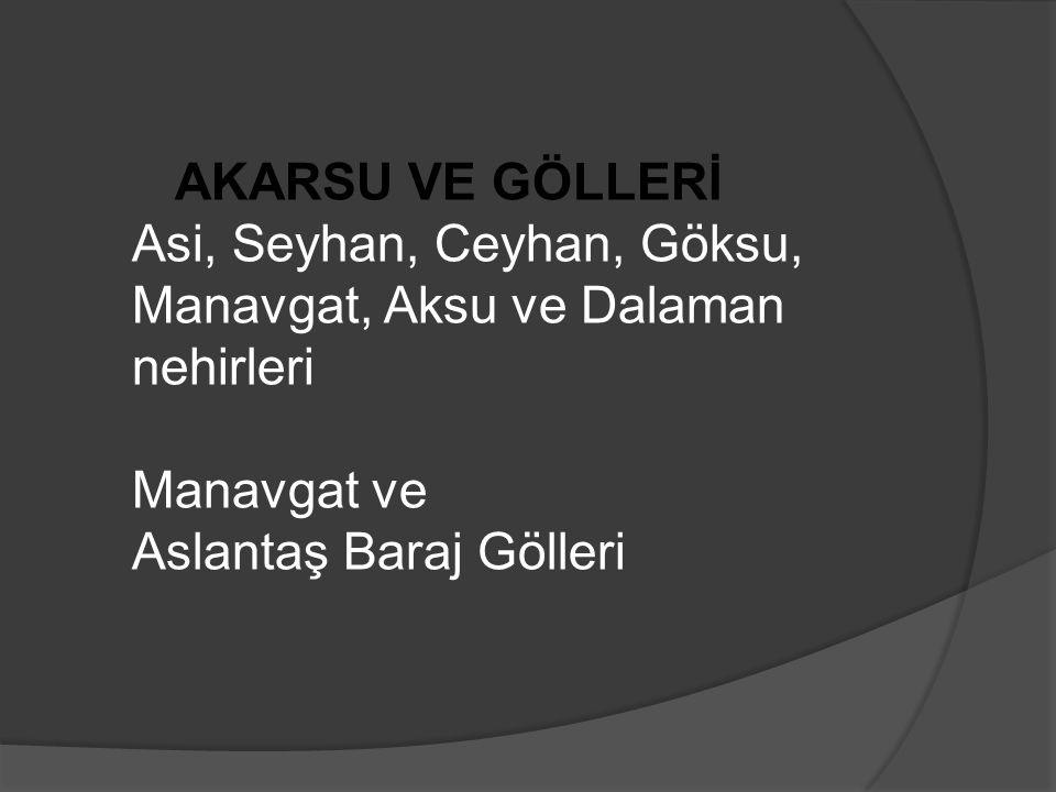 GÖLLERİ Beyşehir, Eğirdir, Burdur, Kovada, Acıgöl, Suğla, Söğüt, Salda, Elmalı ve Avlan gölleri